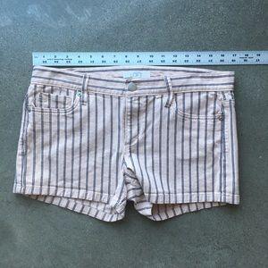Ann Taylor Pink Navy Striped Stretch Jean Shorts